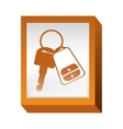 rectangle button with keys and keychain vector image