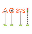railway intersection signs different traffic vector image