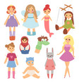 different dolls fashion young clothes character vector image