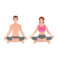 calm woman and man are doing yoga and meditation vector image