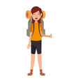 camping woman icon vector image