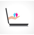 hand holding malefemale hands comes from laptop vector image vector image