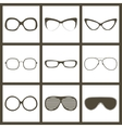 hand drawn glasses frame set Retro vintage vector image