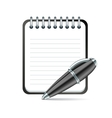 pen and notepad icon vector image vector image