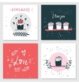 Cute cards with love lettering Valentines Day vector image
