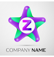 Letter Z logo symbol in the colorful star on grey vector image
