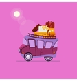 Purple Car Side View With Heap Of Luggage vector image