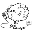Sheep with a hairdryer vector image