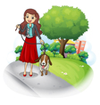 A woman with her dog at the road vector image vector image