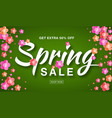 spring sale banner background with paper flowers vector image
