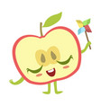 half of apple with windmill toy cute anime vector image