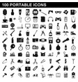 100 portable icons set simple style vector image