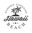 hawaii beach summer paradise logo template black vector image vector image