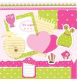 Baby girl scrapbook set vector image