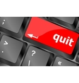 quit button on black internet computer keyboard vector image
