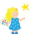little girl holding a star vector image vector image