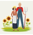 Farmers couple man and woman Male and female vector image