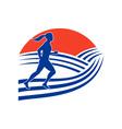 female marathon runner running side vector image