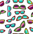 Hipster cartoon sunglass seamless background vector image