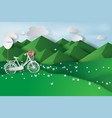 paper art of green landscape mountain view with vector image