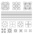 Set of square rosette elements vector image