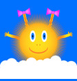 sun icon on blue sky vector image