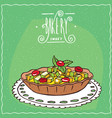 tartlet with berries and apple on lacy napkin vector image