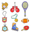 doodle of sport equipment object various vector image