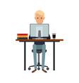 man working sitting in desk computer work space vector image