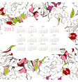 template for calendar 2012 with flowers vector image vector image