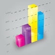 Colorful 3D bar chart vector image