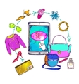 Fashion Online Shopping Composition vector image