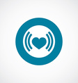 heart beat icon bold blue circle border vector image