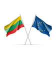 lithuania and european union waving flags vector image