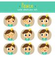 Prince little boy cute emotions set vector image