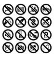 set prohibited symbols industrial hazard black sig vector image