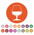The glass with brandy icon Brandy symbol Flat vector image