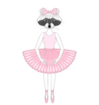 cute raccoon girl in dress like ballerina Hand vector image