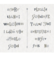 Set hand drawn phrases and words vector image vector image