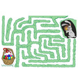maze bunny and Easter eggs vector image
