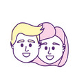 couple head together with hairstyle design vector image
