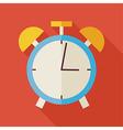 Flat Alarm Clock with long Shadow vector image
