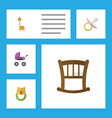 flat child set of rattle nipple stroller and vector image