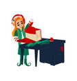 flat elf girl wrapping present box vector image