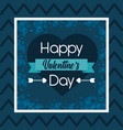 happy valentines day greeting card blue heart love vector image