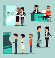 people in the bank banking service vector image vector image