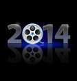 new year 2014 metal numerals with film tape vector image