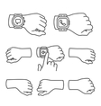 Hands with smartwatch icons vector image