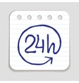 Doodle 24 Hours a Day icon vector image vector image