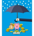 Hand holding umbrella under rain to protect money vector image